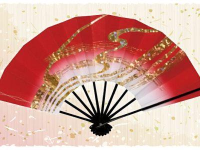 金筆線【舞扇・雅】濃赤