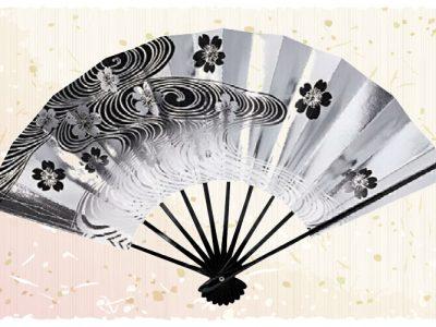 流水桜【舞扇・扇】黒