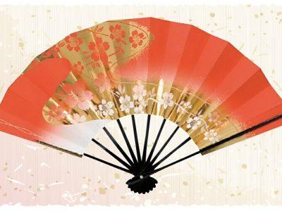 流れ桜【舞扇・扇】赤