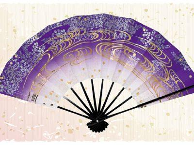 萩流水【舞扇・扇】紫