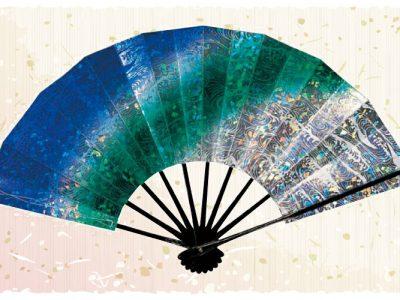 マーブル波【舞扇・宴】青緑