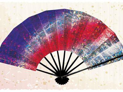 マーブル波【舞扇・宴】紫 赤