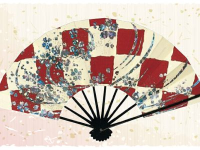 市松桜【舞扇・扇】赤