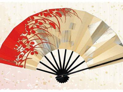 秋草【舞扇・扇】赤 金
