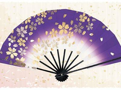 桜吹雪【舞扇・扇】紫