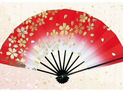 桜吹雪【舞扇・扇】赤