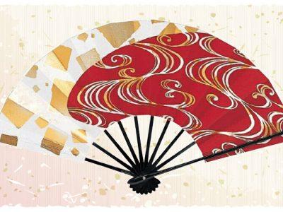 流水紋【舞扇・扇】赤