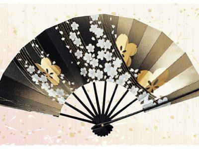 桜【舞扇・扇】金 黒