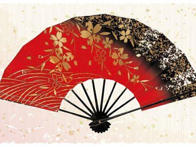 しだれ桜【舞扇・扇】赤 黒