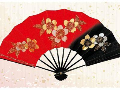 桜【舞扇・扇】赤 黒