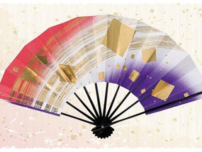 金模様【舞扇・歌】 赤 白 紫